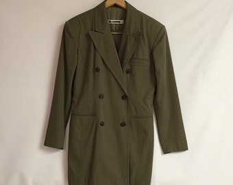 Jil Sander Pants and Blazer/ Olive Green Double Breasted Blazer/Size 36  Suit/Ladies Blazer/ c.1990   By Gatormom13