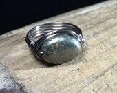 size 8.75 , 8 3/4 - bohemian Pyrite stone gunmetal wire wrapped ring - gemstone jewelry women men unisex black grey metallic