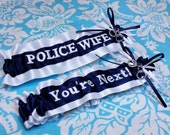 Navy and white Police Wife garter set, You're next garter set, fine line garter set, handcuffs garter set, Police garter set
