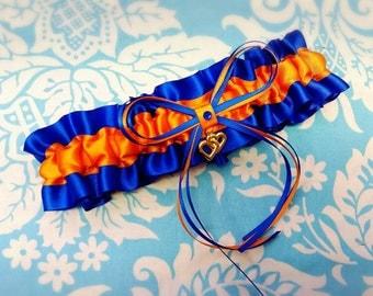Wedding Garter , beautiful tangerine orange and royal blue satin with heart, heart garter, orange and royal blue