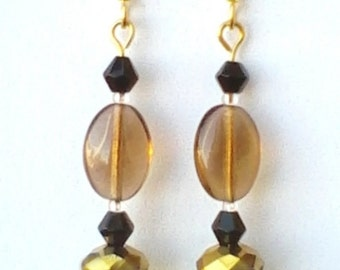 Gold and Chartreuse Faceted Dangle Earrings