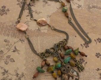Owl Always Love You Brecciated Jasper Owl Necklace Hippie Bohemian Charm Beaded