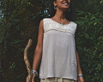 ON SALE Free Spirit Soft Light Cotton Off White Sleeveless Loose fit Top Bohemian Gypsy Natural Tribal
