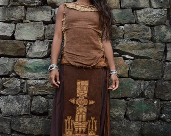Native American style  Tribal Panel Unisex Linen Embroidery skirt  Earthy Natural