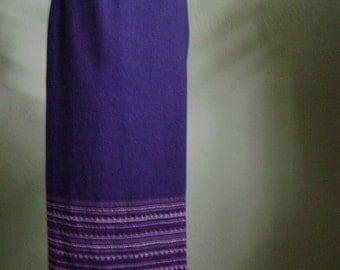 "Vintage 90's Worthington Purple Wrap Skirt with Decorative Border Fringe Hem Waist 29"" Hips 40"""