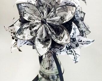 Comic book & Lilies Paper Flower Bouquet- wedding bouquet, one of a kind brides bouquet, origami, alternative bouquet, anniversary gift