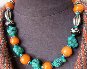 Stunning Vintage Tribal Necklace of Tibetian Beads of Turquoise Nuggets, Amber and Coin Silver