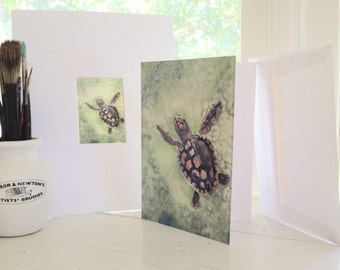 Turtle art gift set, under 20 dollars, loggerhead sea turtle blank greeting card plus mini print, 8x10 matte, gift for her