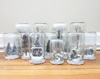Personalized Mason Jar Snow Globe, Custom Woodland Christmas Decoration