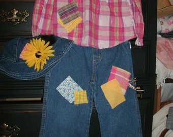 Girls Size 5T Halloween Scarecrow costume plaid shirt & jeans ONE of a KIND