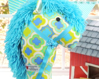 Stick Horse, Handmade Kid's Ride-On Hobby Horse Toy, Turquoise and Lime, On Sale Thru June 13th