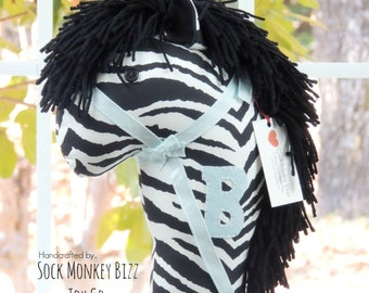 Stick Horse, Personalized Boys Girls Ride On Zebra Hobby Horse Toy, Gifts for Kids, More Colors to Choose From
