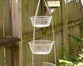 Three Tier Hanging Basket - Fruit Basket - Nestled Baskets - Wire Baskets - Farmhouse Decor - Steel Mesh Baskets  - Primitive Baskets