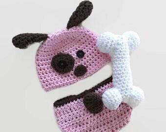 Pink puppy hat, crochet puppy hat, baby puppy hat, newborn puppy hat, newborn photo prop, dog hat, infant dog hat, crochet dog hat