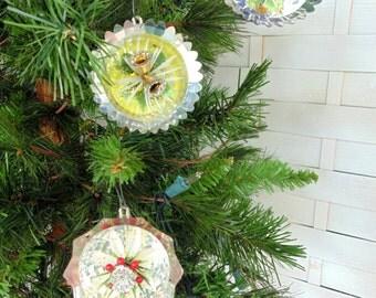 Jewelbrite Ornament. 1960s Christmas. Jewelbrite Diorama. SPACE AGE Decor. Christmas Ornament. 3 pc lot. Indent Ornament. Jewel brite.