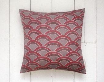"Lilac Grey Retro Geometric Pattern Vintage Kimono Cushion Pillow 'Rainbow Wave' (14"" x 14"")"