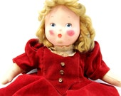 1930s 1940s Krueger Composition and Cloth Doll, Early Mid Century Doll with Velvet Dress