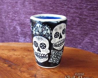 Decorative Skulls Cup - stoneware ceramic shot glass