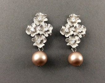 Pearl Earrings In Matte Silve Four Flowers With Cubic Zirconia And Powder Almond Teardrop Pearls