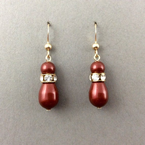 Red Pearl Earrings In 14K Gold Filled With Rhinestones and Red Bordeaux Swarovski Crystal Teardrop Pearls