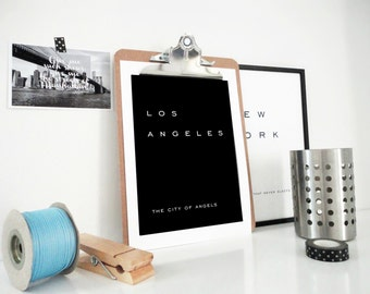 Los Angeles The City Of Angels Art Print Minimal California Travel Art Hipster Modern Home Office Decor Hollywood Print in Black or White