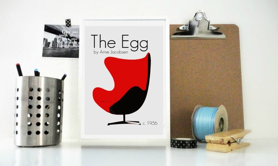 Art Print The Egg Chair Retro, Mod Design Arne Jacobsen Poster - Furniture Print - Minimal Home Decor Design Wall Art - Scandinavian Design
