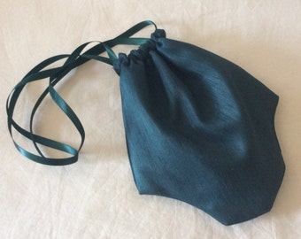 Regency Reticule,Bag. Victorian. Jane Austen. Bottle Green Faux Silk.