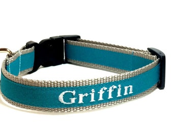 Personalized Embroidered Dog ID Collar - Turquoise and Silver Personalized Dog Collar
