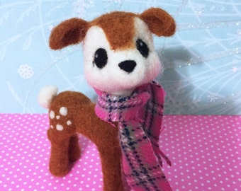 Deer with Scarf / Felted / Reindeer / Christmas / Soft Sculpture / Poseable / Brown