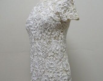 Vintage 1960's/ Mod White Lace Dress/60's Mod Wedding Dress/Saks Fifith Avenue/White Soutache Lace Dress/60's Mod Bridal Dress/Small