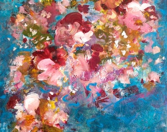 Large Abstract Painting Flower Painting Large Art Colorful painting 30 x 40 x 1.5   Always a Place  Swalla Studio
