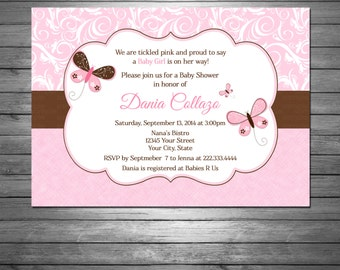 Butterflies Baby Shower Invitations, Damask, Pink, For Girl, Butterflies, Pink and Brown, Baby Girl
