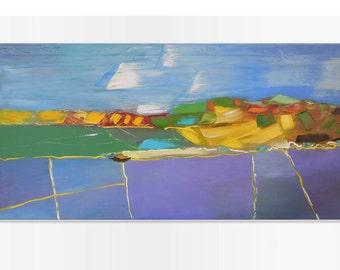 August fields - art village valley relax painting wall decor field hanging art light green canvas original painting landscape impasto oil