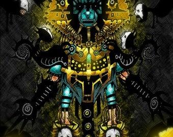 PRINT - ReActivation - Alien Robot Monster Strange Sci fi Art Print