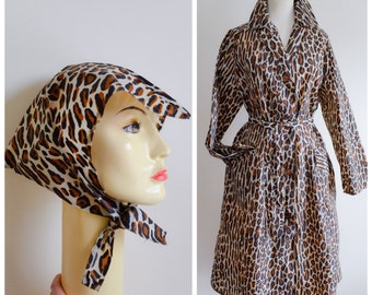 1950s Leopard print belted rain mac & bonnet / 50s Valstar animal print macintosh - S M L