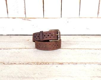 90s distressed rugged dark brown thick leather belt/country western leather belt/laser cut out belt/boho belt