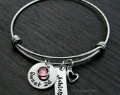 Sweet 16 / Sweet 16 Bracelet / Wire Bangle Bracelet / Sweet 16 Gift / Personalized / Charm Bracelet / Hamd Stamped