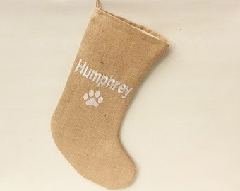 "17"" Hessian Burlap Pet Christmas Stocking Ivory Faux Fur,  Luxury, Rustic, UK Seller, Personalised Name, Custom Made to Order Embroidered"