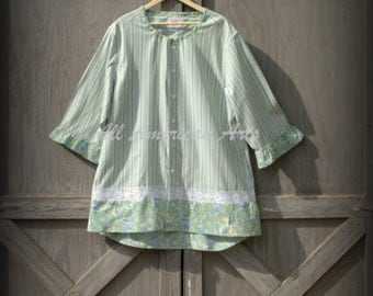 Upcycled, Refashioned, Repurposed, Eco-Friendly, Man's Shirt, Ladies Plus Size Tunic, Size 3XL