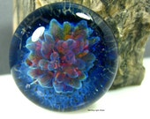 25mm Lampwork Cabochon - Fuschia Blue - Jewelry Making Supply - Handmade Bezel Cab