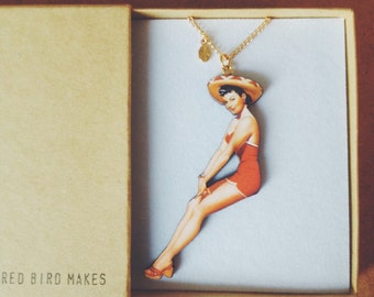 Vintage Pin Up Girl Necklace - Sombrero