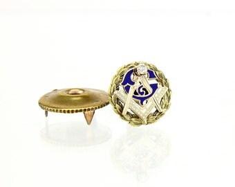 Antique Masonic Pin - 14K Gold & Diamond 1900
