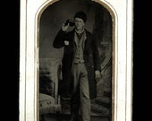Antique Tintype Photo : Multi Talented Man Smokes Cigar While Drinking Whisky