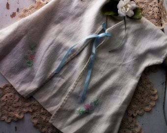 Rustic Primitive Prairie Handmade Infant Dressing Gown. Flannel newborn vintage baby gown. Embroidery florals ribbons