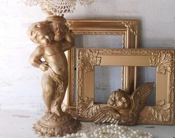 Vintage Cherub Compote. French Farmhouse. Paris Apt. French Flea Market. Old World Charm. Distressed Antique Bronze Gold