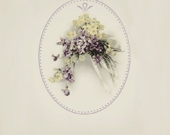 Cottage Heirloom Victorian Old Fashioned Violets. Happy Mother's Day. Scrapbook. Crafts. Graphic Digital Art Print