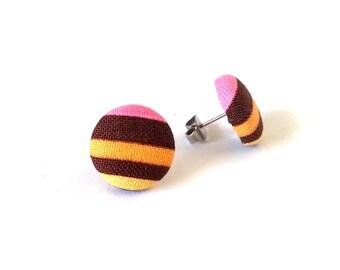 Funky stud earrings - striped post earrings - fabric button earrings - tiny orange brown yellow pink