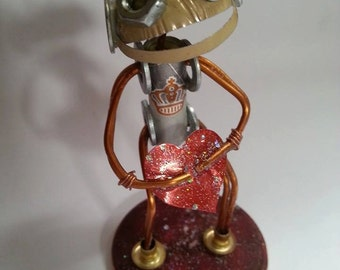 Dank.2 Retro Robot. Hand made from recycled materials and found items. Great gift for loved one.