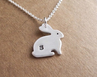 Personalized Little Rabbit Necklace, Bunny Initial Necklace, Fine Silver, Sterling Silver Chain, Made To Order