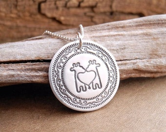 Twin Giraffe Necklace, Mom of Twins Jewelry, Fine Silver, Sterling Silver Chain, Made To Order